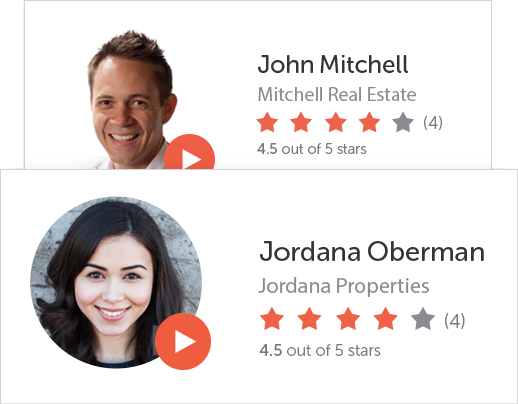 Screenshot showing Xome Agent profile cards with headshots and star ratings